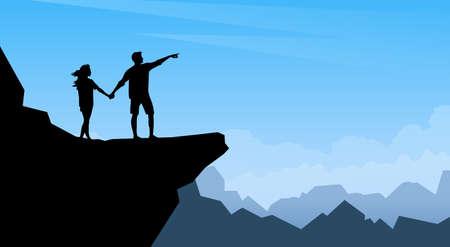Silhouette Homme Femme Couple Traveler Stand On montagne Cliff Trackers Hickers sur fond naturel Illustration Vecteurs