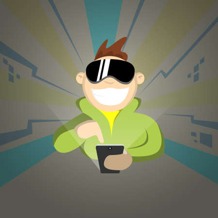 smart boy: Boy Wear Digital Glasses Hold Cell Smart Phone Virtual Reality Cyber Play Video Game Illustration Illustration