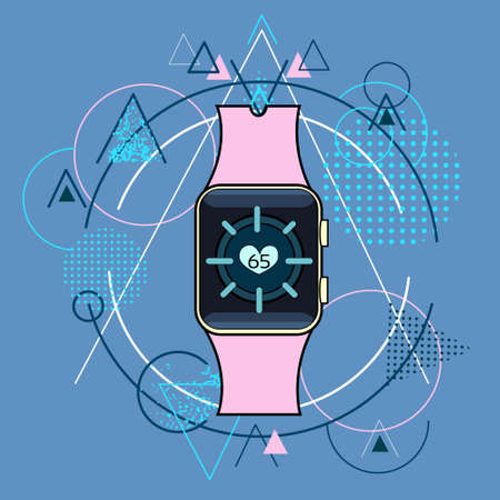 electronic device: Smart Watch Fitness Tracker Application Technology Electronic Device Over Triangle Geometric Background Illustration Illustration
