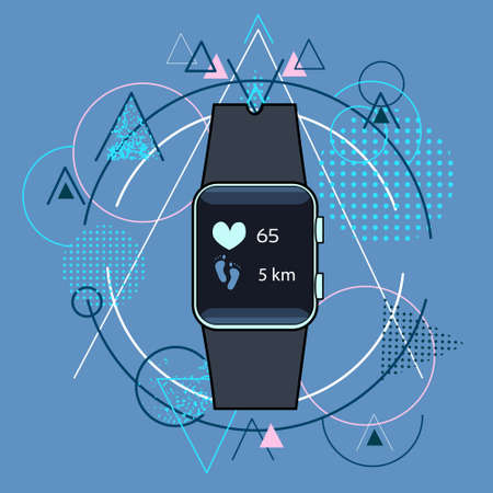 electronic background: Smart Watch Fitness Tracker Application Technology Electronic Device Over Triangle Geometric Background Illustration Illustration