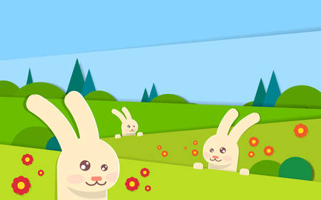 green grass and blue sky: Spring Landscape Rabbit Bunny With Green Grass Blue Sky Easter Holiday Illustration Illustration