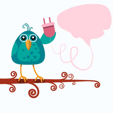 disconnected: Bird Sitting On Branch Hold Socket Outlet Connection Concept Chat Bubble Flat Illustration Illustration