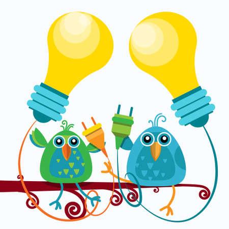 enchufe de luz: Dos pájaros sentado en la rama mantendrá un socket de la bombilla nueva idea de concepto Ilustración plana Vectores