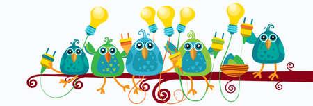enchufe de luz: Grupo de pájaros sentado en la rama Hold zócalo de la bombilla nueva idea de concepto Ilustración plana