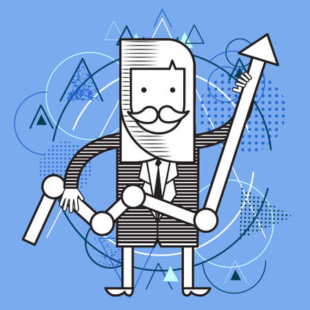 hold up: Business Man Hold Finance Graph Chart Arrow Up, Success Concept Over Triangle Geometric Background Flat Illustration