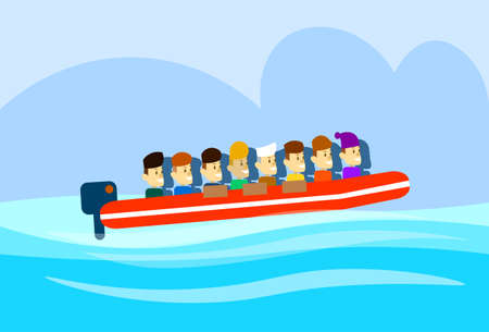 syrian civil war: Migrant Crisis People Group Emigrant Motor Boat Sail In Sea Emigration Concept Flat Illustration