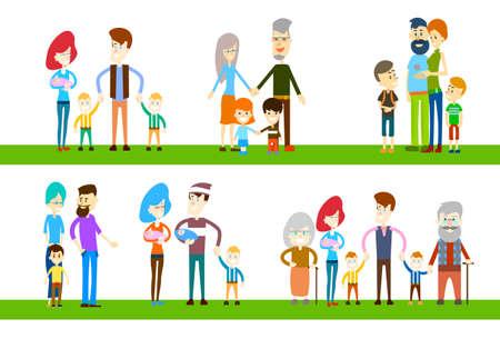 Gran Familia Niños abuelos de los padres Generación Conjunto de la colección de ilustraciones plana Ilustración de vector