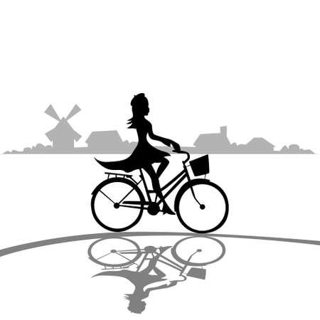 Femme Bicycle Ride élégante Silhouette Mode Robe Fond noir Illustration Vecteurs