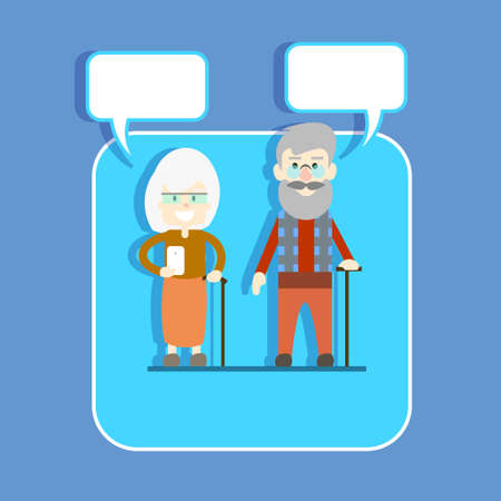 smart phone woman: Senior Couple Man Woman With Stick Hold Cell Smart Phone Chat Bubble Modern Network Communication Concept Illustration Illustration