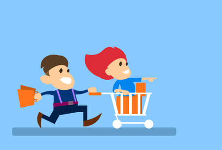shoppers: Couple Man Run With Woman Sit In Shopping Cart Trolley Sale Concept Illustration