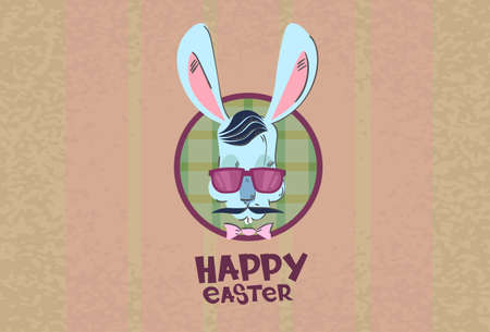 bunny: Easter Holiday Rabbit Bunny Hipster Style Mustache Glasses Flat Illustration