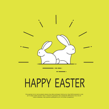 family holiday: Rabbit Family Bunny Happy Easter Holiday Copy Space Illustration