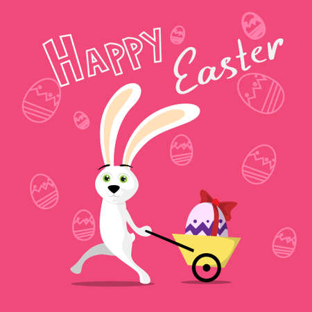 'pull over': Rabbit Pull Small Cart With Colorful Egg Present Ribbon Over Sketch Background Happy Easter Holiday Flat Illustration