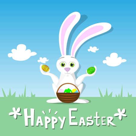 eggs basket: Happy Easter Card Bunny Hold Eggs Basket Spring Landscape Green Grass Rabbit Blue Sky Illustration