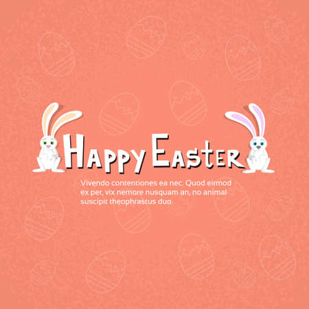 happy couple: Rabbit Bunny Couple Happy Easter Holiday Sketch Eggs Flat Illustration