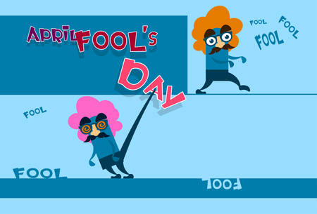 foolish: Fool Day April Holiday Greeting Card Banner Comic Crazy Character Fake Nose, Mustache, Wig Flat Vector Illustration