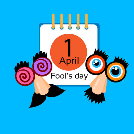 foolish: Fool Day Calendar Page 1 April Holiday Greeting Card Banner Comic Crazy Fake Nose, Mustache, Glasses Flat Vector Illustration
