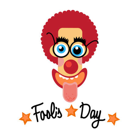fake nose and glasses: Fool Day Comic Crazy Clown Head April Holiday Greeting Card Banner Flat Vector Illustration