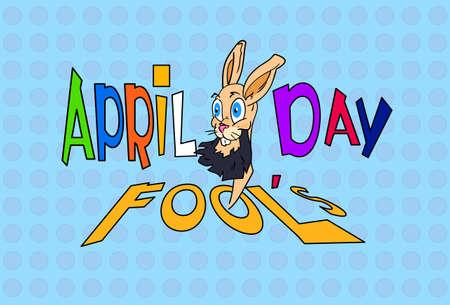 animal idiot: Fool Day Crazy Rabbit April Holiday Greeting Card Banner Flat Vector Illustration