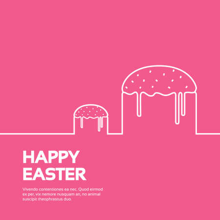 easter cake: Easter Cake Happy Easter Holiday Banner Copy Space Vector Illustration Illustration