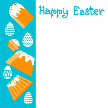 decorated cake: Easter Cake Decorated Eggs Set Traditional Food Happy Holiday Greeting Card Empty Copy Space Flat Vector Illustration