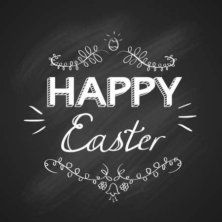 letras negras: Feliz Pascua de vacaciones Texto blanco De escritura a mano la tarjeta de felicitación del bosquejo de la tiza Junta Negro bandera ilustración vectorial