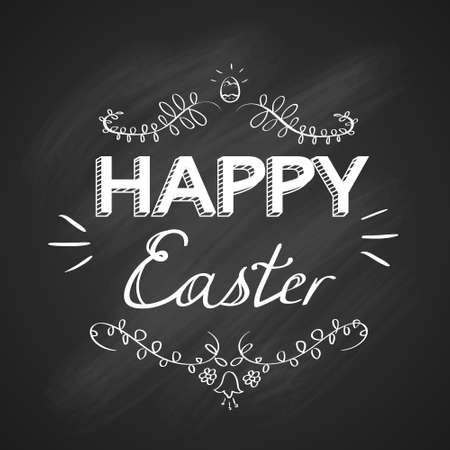 black and white background: Happy Easter Holiday White Text Hand Write Chalk Sketch Black Board Greeting Card Banner Vector Illustration