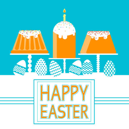 easter candle: Easter Cake With Candle Decorated Eggs Set Traditional Food Happy Holiday Greeting Card Flat Vector Illustration
