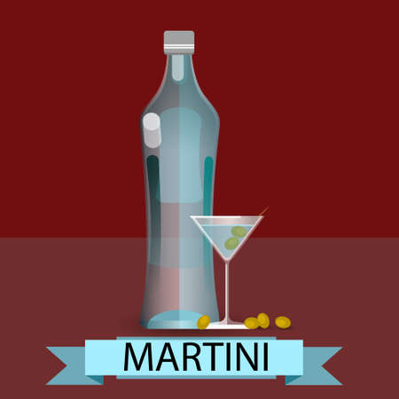 vermouth: Martini Bottle Glass Olive Alcohol Drink Icon Flat Vector Illustration Illustration