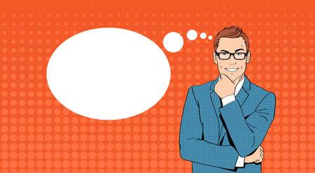 Business Man Tenir Chin affaires Think, Ponder New Idea chat Bubble Pop Art Colorful style rétro vecteur Illustration Vecteurs
