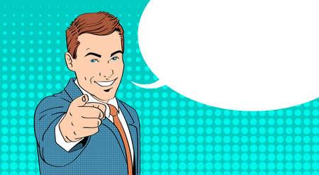 alzando la mano: Dedo del hombre de negocios punto en el que usted charla de la burbuja del arte pop colorido del estilo retro Ilustración vectorial