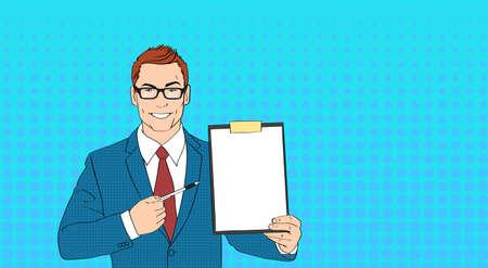 clip board: Business Man In Glasses Point Pen At Empty Paper Clip Board Pop Art Colorful Retro Style Vector Illustration Illustration