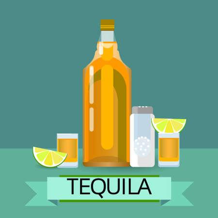 fiesta: Tequila Gold Bottle Glass With Lemon Lime Salt Alcohol Drink Icon Flat Vector Illustration Illustration
