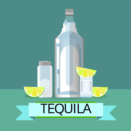 lemon lime: Tequila Bottle Glass With Lemon Lime Salt Alcohol Drink Icon Flat Vector Illustration Illustration
