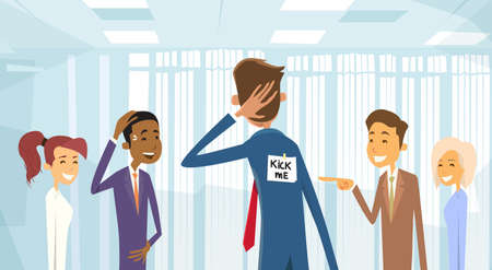 Business People Group Laughing, Kick Me Note On Businessman Back, Joke Fool Day April Holiday Vector Illustration