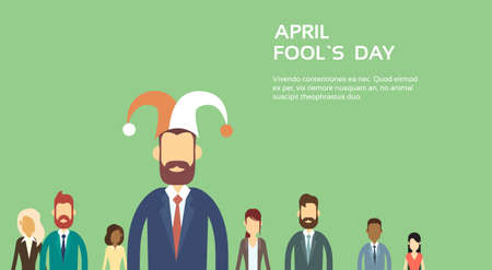 jester hat: Business People Group Wear Jester Hat, Fool Day April Holiday Banner Copy Space Vector Illustration