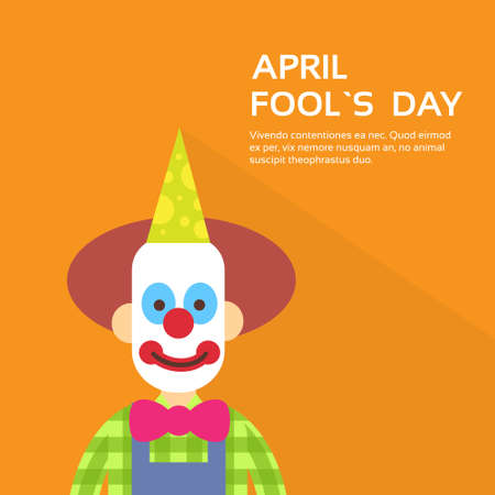 clown face: Clown Face First April Day, Fool Holiday Concept With Copy Space Flat Vector Illustration