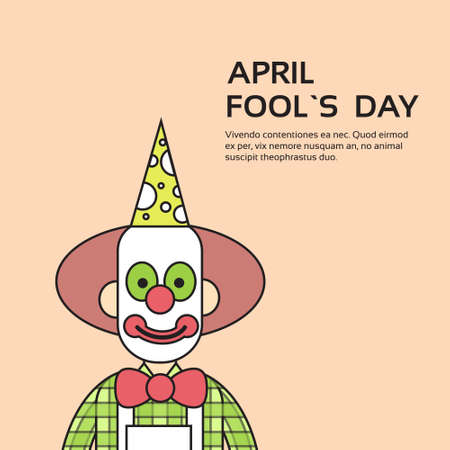 fool: Clown Face First April Day, Fool Holiday Concept With Copy Space Thin Line Vector Illustration