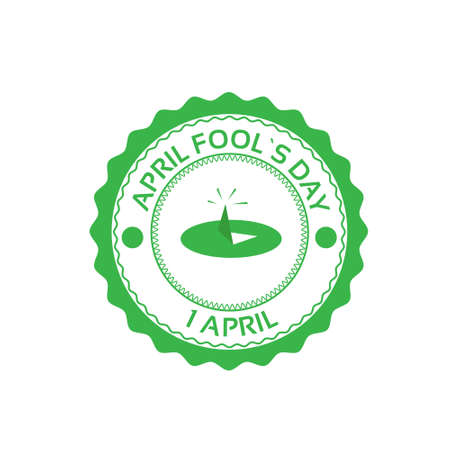 fool: Drawing Pin First April Fool Day Happy Holiday Flat Vector Illustration