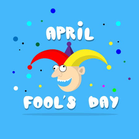 fool: Crazy Clown Face First April Day, Fool Holiday Concept Flat Vector Illustration