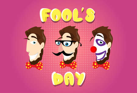 make my day: Man Head Fake Mustache Glasses Bow Tie Clown Make Up First April Fool Day Happy Holiday Flat Vector Illustration