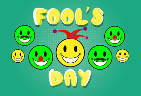 fool: Smile Faces Fool Day April Holiday Greeting Card Vector Illustration