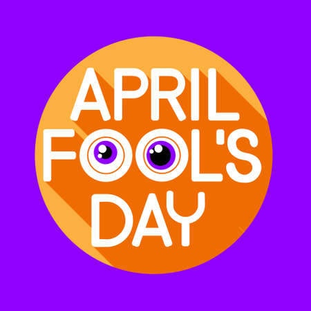fool: Fool Day April Holiday Greeting Card Banner Comic Crazy Eyes Flat Vector Illustration Illustration