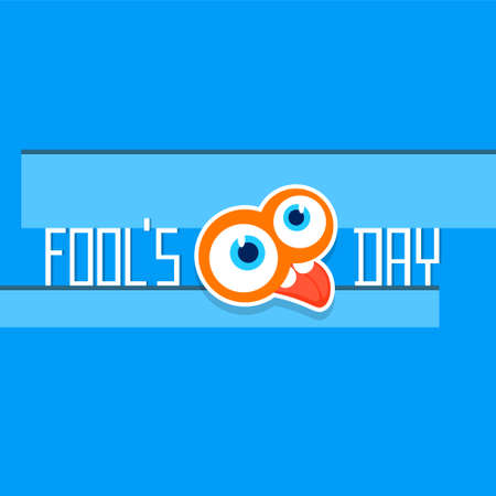 crazy face: Crazy Face Show Tongue First April Fool Day Happy Holiday Flat Vector Illustration