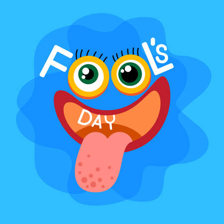 fool: Crazy Face Show Tongue First April Fool Day Happy Holiday Flat Vector Illustration