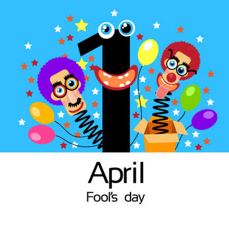 idiot box: Fool Day Comic Crazy Clown Head In Surprise Box April Holiday Greeting Card Banner Flat Vector Illustration Illustration