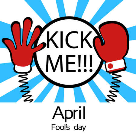 fool: Hands On Spring Kick Me Fool Day April Holiday Greeting Card Banner Vector Illustration