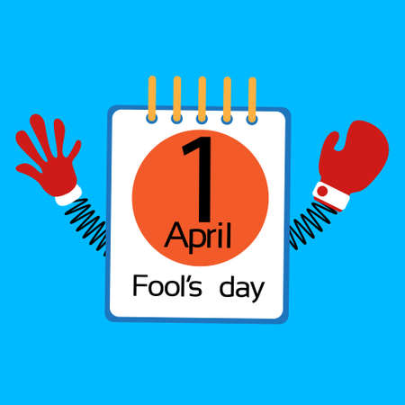 idiot box: Calendar Page Fool Day April Holiday Greeting Card Banner With Spring Hands Flat Vector Illustration