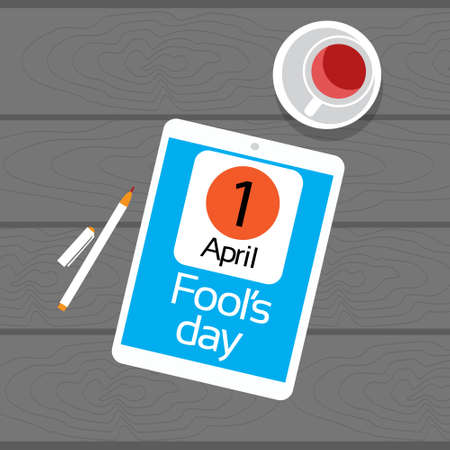 fool: Calendar Tablet Computer Fool Day April Holiday Greeting Card Banner Texture Wooden Background Vector Illustration Illustration