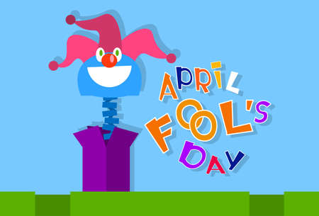 idiot box: Fool Day Comic Crazy Clown Head In Surprise Box April Holiday Greeting Card Vector Illustration